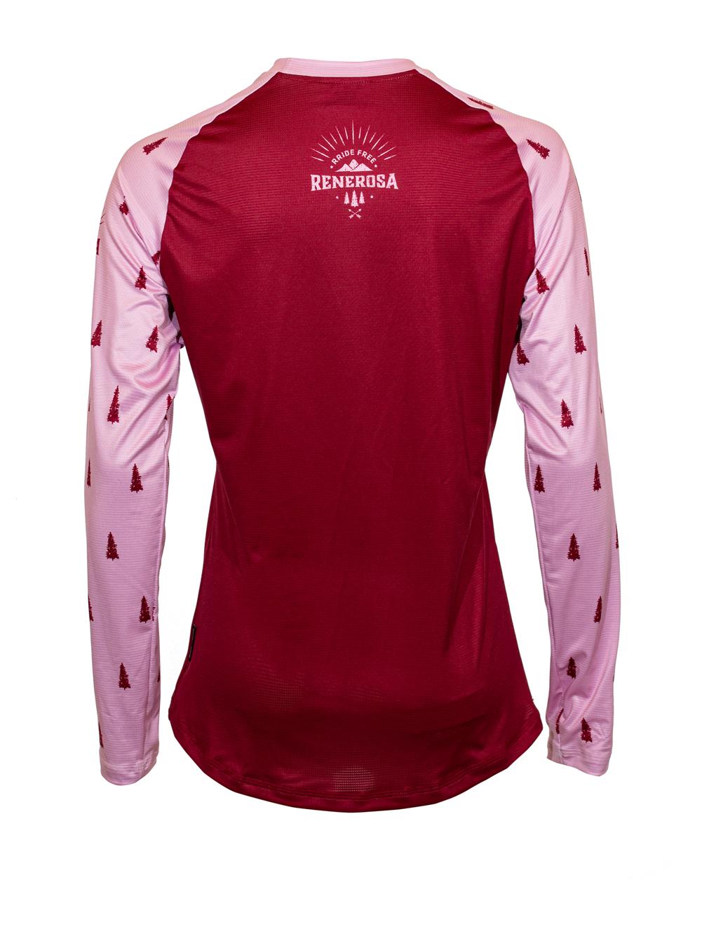 MTB/E-Bike Longsleeve Damen Jerseyl RRT615W / RRideFree Bordeaux Rosa