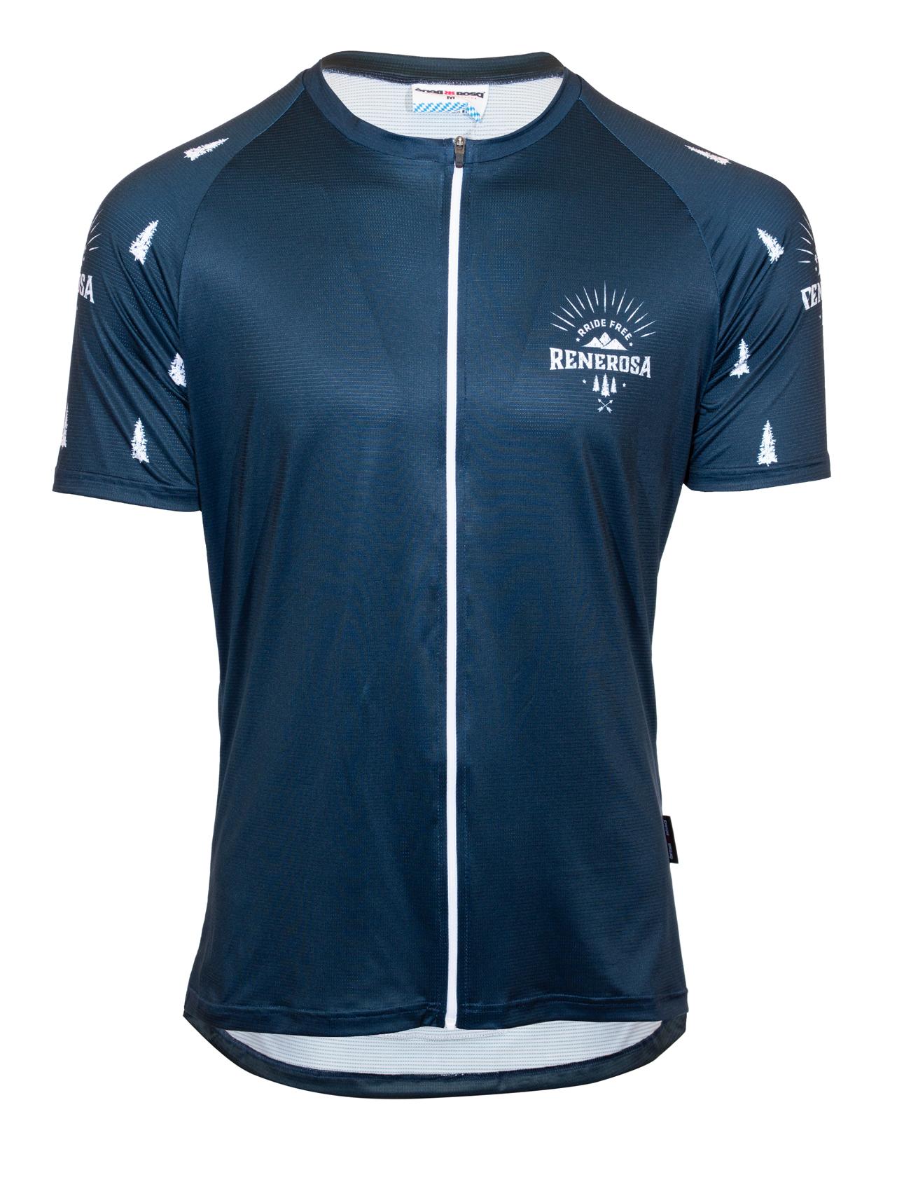 E-Bike Shirt mit durchgehenden Zip / RRide Free BlueWhite