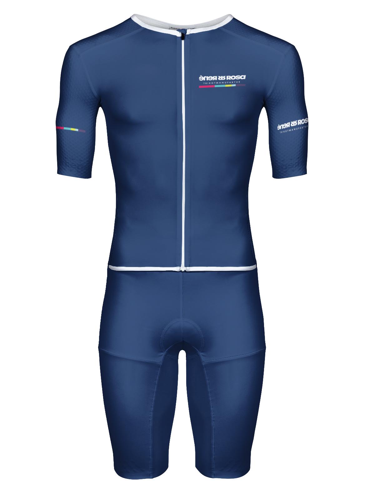 Aero Triathlon Einteiler  RRT2777M Herren Longversion / RR-Stripes blau