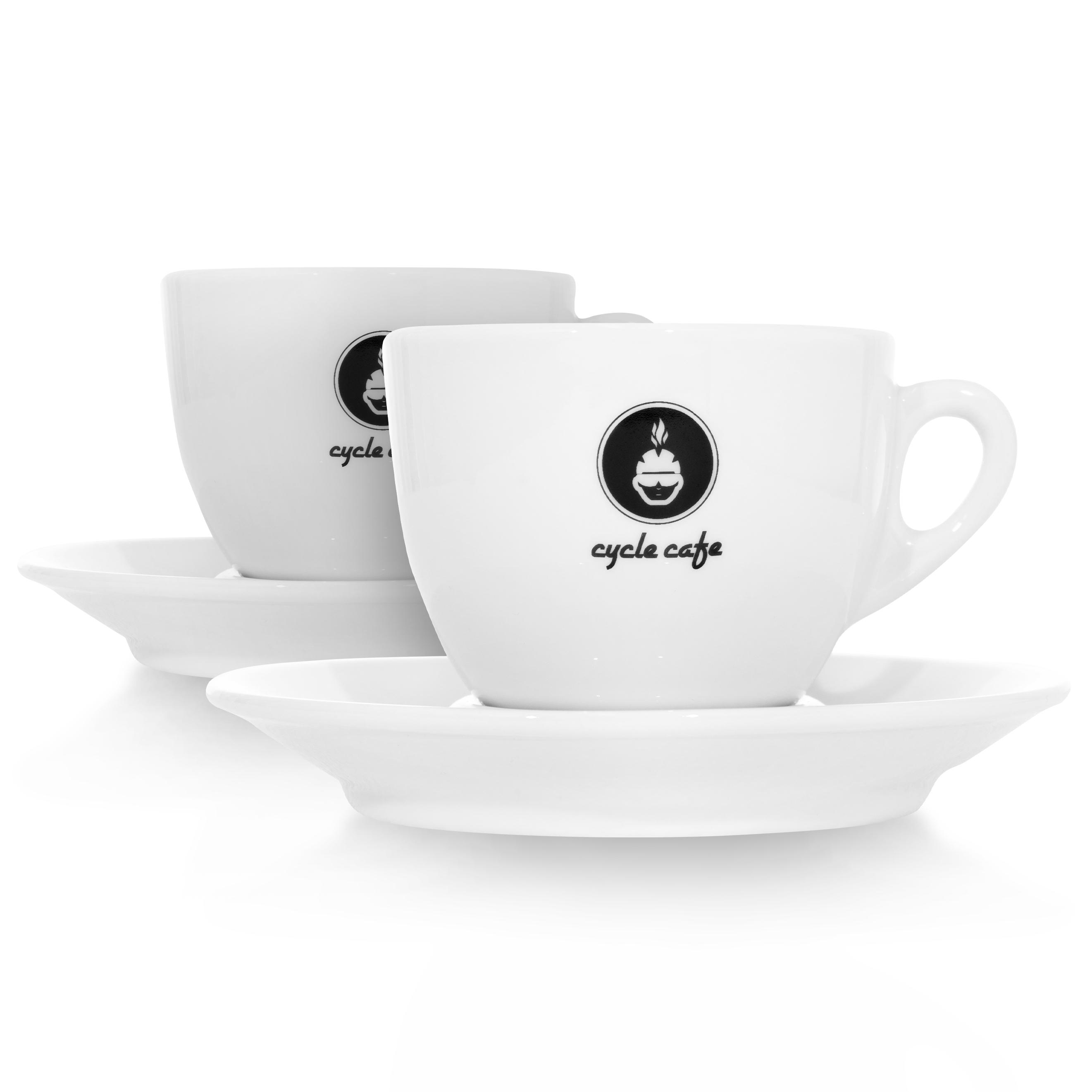 CycleCafe Kaffee- Cappuccino Tasse mit Untersetzer  / 2er Set