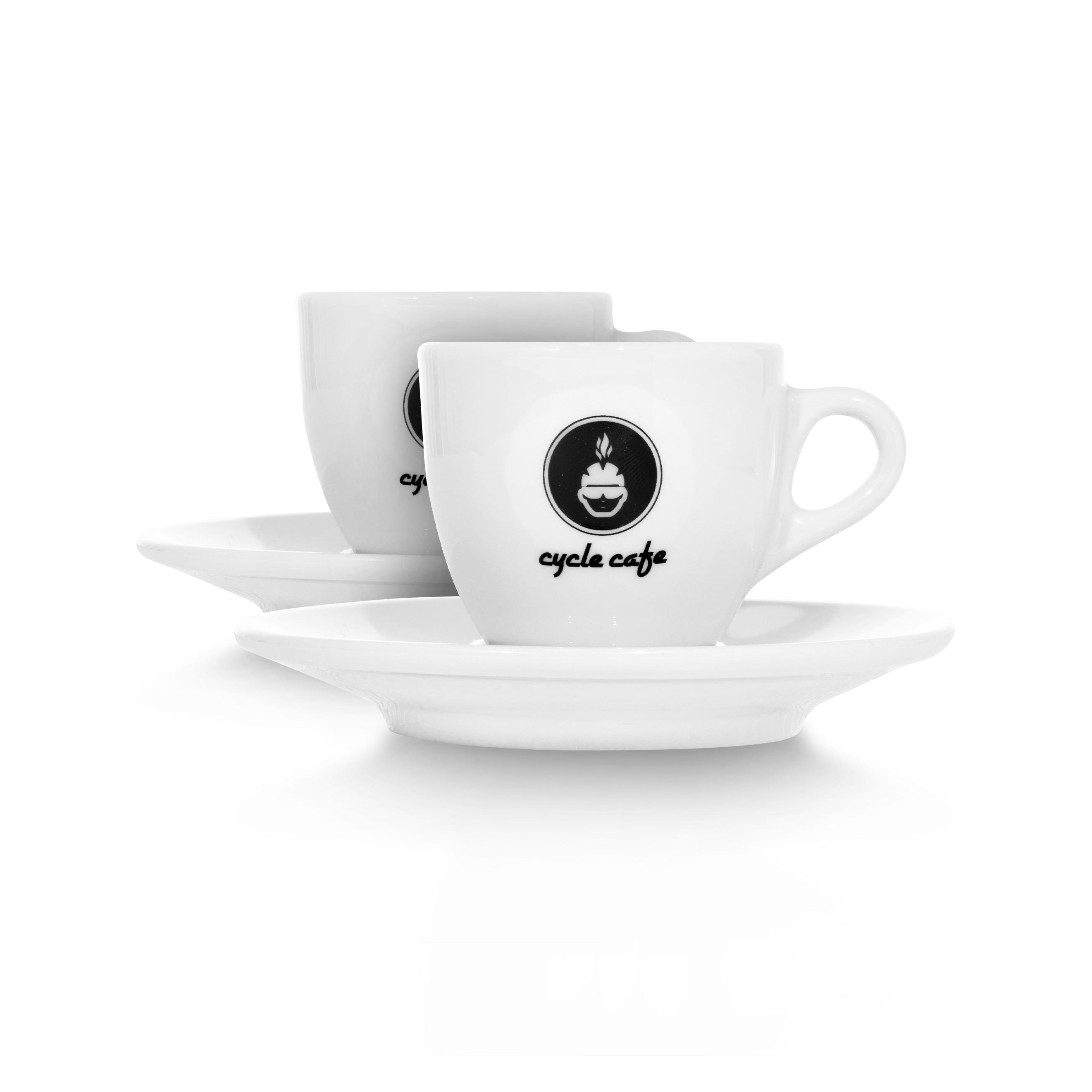 CycleCafe Espresso Tasse mit Untersetzer / 2er Set